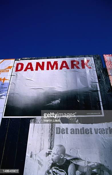 Poster reading 'Danmark', the Danish way of spelling 'Denmark'.