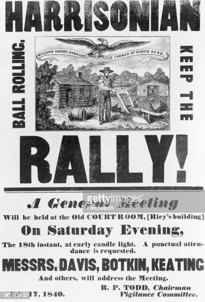 Poster reading 'Harrisonian Keep The Ball Rolling Rally A General Meeting will be held at the Old Courtroom [Riey's building] On Saturday Evening The...