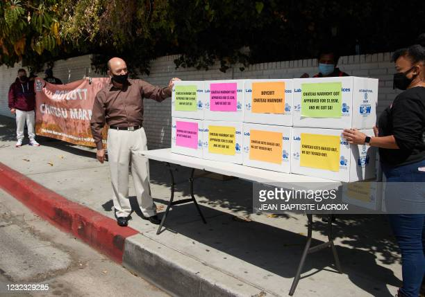 """Poster reads """"boycott Chateau Marmont"""" during a food distribution and protest in front of Chateau Marmont in Los Angeles, California, on April 15 as..."""