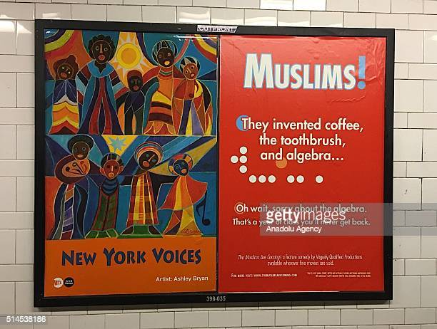 A poster reads 'Muslims They invented coffee the toothbrush and algebra Oh wait sorry about the algebra That's a year of class you'll never get back'...