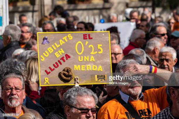 A poster referencing the 025% increase in pensions is seen among the crowd of protesters Hundreds of retirees and pensioners have demonstrated in the...