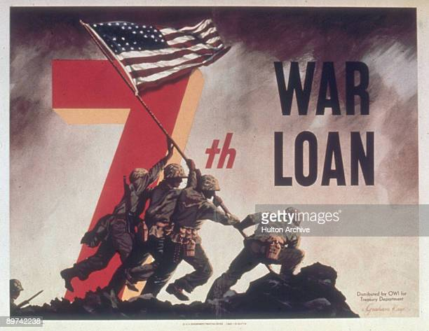 Poster reminders viewers of the 7th War Loan and features an artist's rendering of Joe Rosenthal's photograph of US soldiers as they raise an...