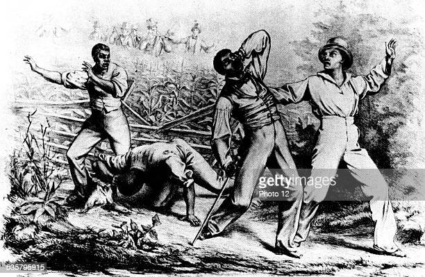 "Poster showing a fugitive black man followed by white armed ""slave chasers"", 19th, United States."