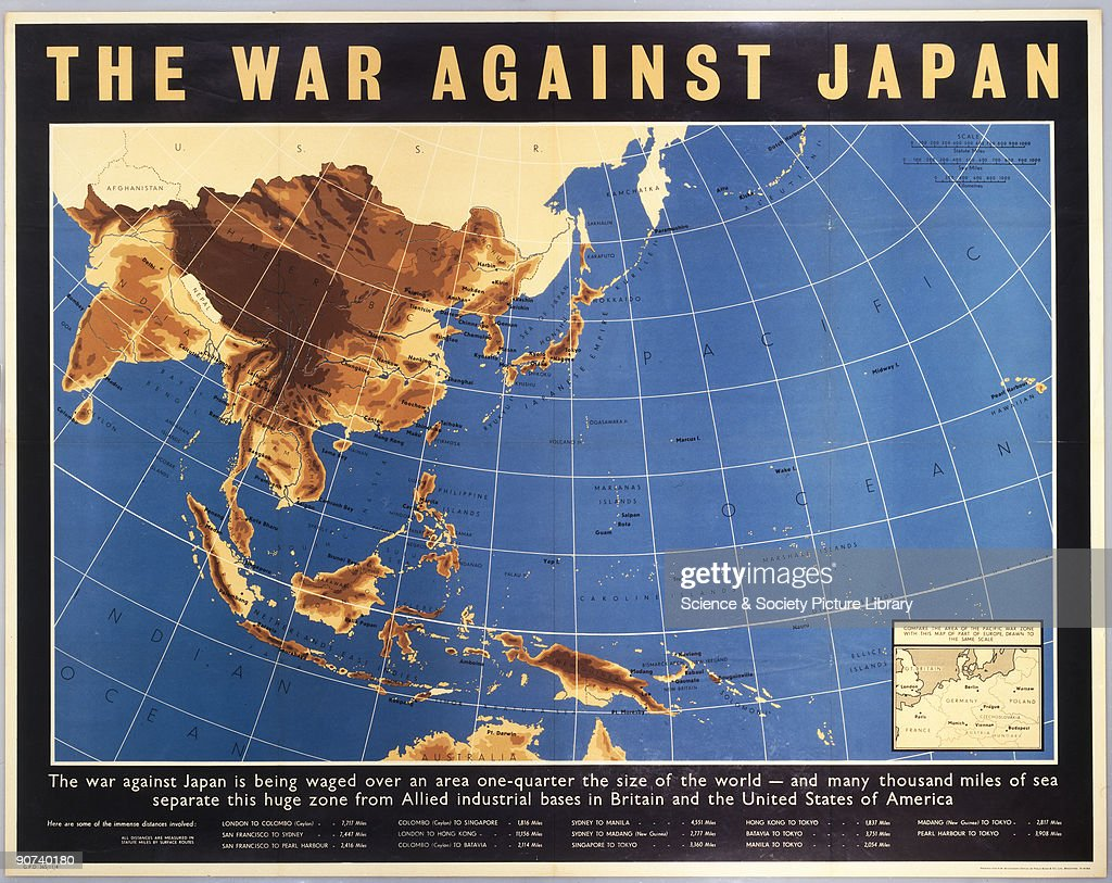 Poster showing a map of the Pacific war zone, printed for HM ...