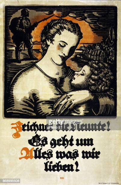 Poster showing a woman holding a child in the background a soldier and a German town Text Subscribe to the ninth war loan It is for everything we...