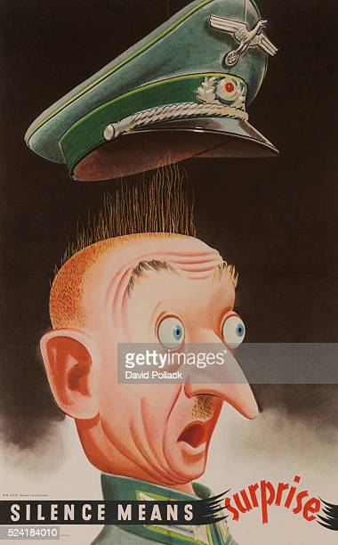 GPO poster showing German officer so startled that his hat has flown off his head and his eyes bulge in terror