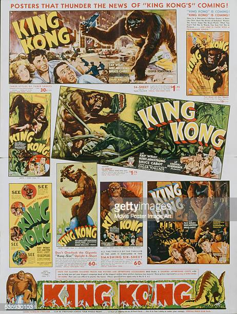 A poster showing promotional posters available for Merian C Cooper's 1933 adventure film 'King Kong'
