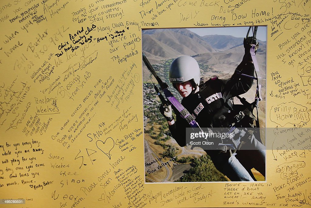 A poster showing support for Sgt. Bowe Bergdahl and signed by guests is taped to the wall inside Zaney's coffee shop where Bergdahl worked as a teenager on June 2, 2014 in Hailey, Idaho. Sgt. Bergdahl was released from captivity on May 31 after being captured in Afghanistan in 2009 while serving with U.S. Armys 501st Parachute Infantry Regiment in Paktika Province. He was released after a deal was worked out to swap his freedom for the freedom of 5 Taliban prisoners being held at Guantanamo Bay. Bergdahl was considered the only U.S. prisoner of war held in Afghanistan.