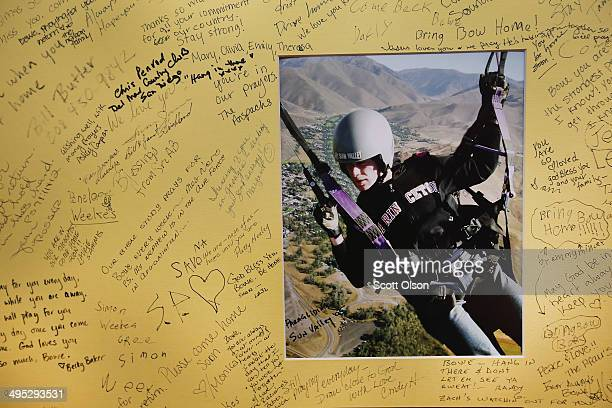 A poster showing support for Sgt Bowe Bergdahl and signed by guests is taped to the wall inside Zaney's coffee shop where Bergdahl worked as a...
