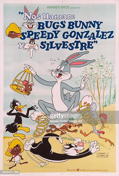 A poster showing Warner Bros Looney Tunes characters Bugs Bunny Speedy Gonzalez Wile E Coyote Road Runner Daffy Duck and Sylvester circa 1950