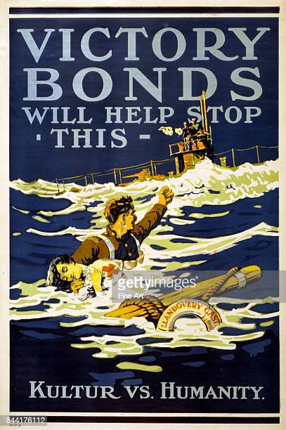1918 poster shows a Canadian soldier holding a drowned Red Cross worker and raising his fist at the sailors on the nearby German submarine Poster is...