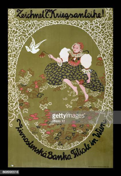 Poster shows a girl in traditional Czech costume in a field of flowers near her is the dove of peace Text Subscribe to the 7th War Loan Zivnostenska...