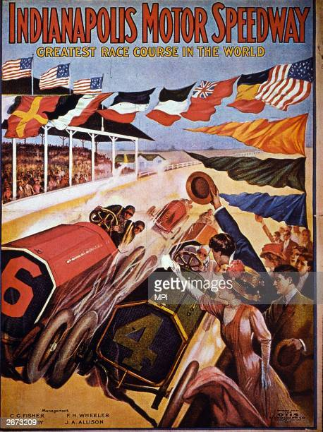 A poster shows crowds cheering as two racing motorists battle it out wheel to wheel at Indianapolis Motor Speedway