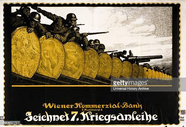 Poster shows soldiers and their weapons behind a barricade of Austrian coins. Text: Subscribe to the 7th War Loan, Vienna Commercial Bank. Created by...