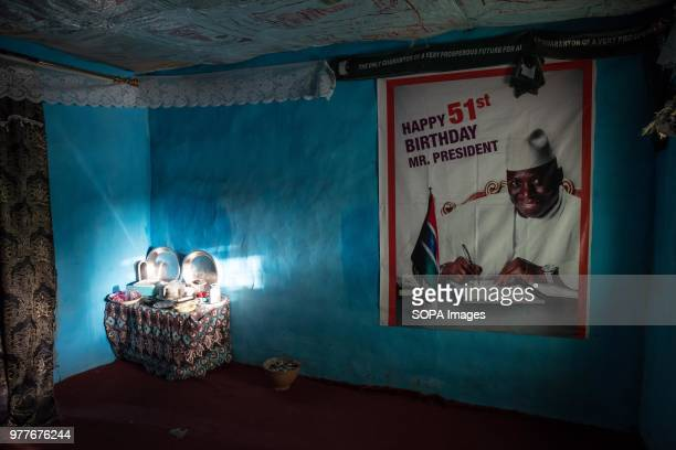 A poster supporting exGambian dictator Yahya Jammeh still stuck up in a house in Kamfenda in the Foni region of The Gambia which was previously a...