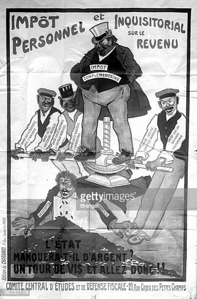 Poster The personal and inquisitorial income tax Paris 1914 BRA95897
