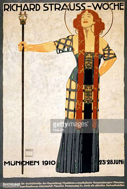 """Poster titled """"Richard Strauss-Woche. Munchen 1910, 23–28 Juni"""" and featuring Salome, created for a 1910 Richard Strauss music festival, lithograph..."""