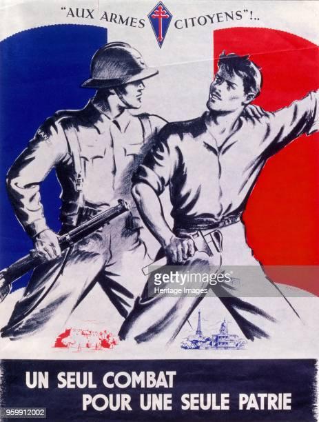 Poster Un Seul Combat pour une Seule Patrie pub 1944 colour lithograph