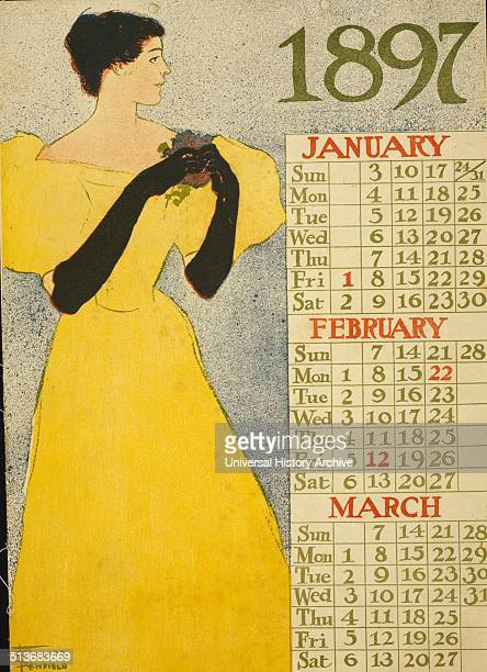 Poster which is first page of a calendar shows woman in evening gown holding flowers 1897 January February March by Edward Penfield