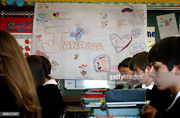 BRUNO CA A poster with condolence messages hangs in Janessa Greig's 8th grade classroom at Saint Cecilia Catholic School in San Francisco –– The...