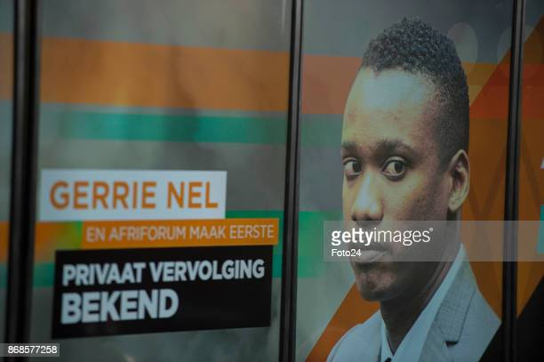 A poster with Duduzane Zumas face is seen during AfriForums media briefing to announce they will be privately prosecuting him on October 17 2017 in...