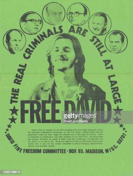 Poster with headshot of accused Sterling Hall bomber David Fine surrouned by circular insets framing headshots of Henry Kissinger Melvin Laird Spiro...