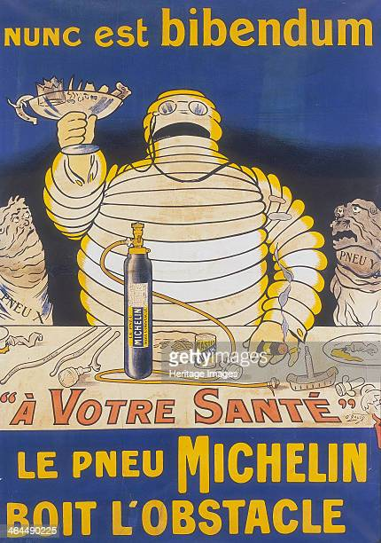 Poster with Mr Bibendum advertising Michelin tyres The famous Michelin Man holds up a glass full of sharp objects which hold no fear for Michelin...