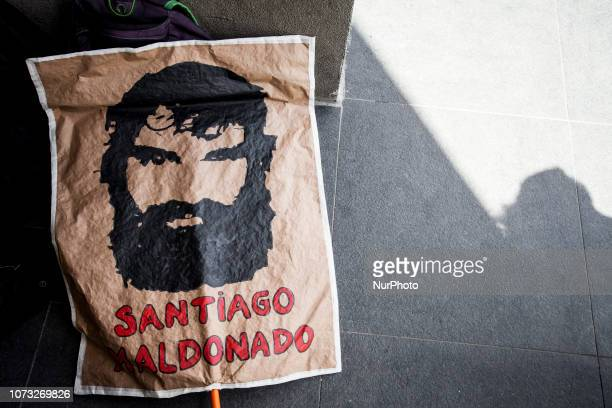 Poster with the image of Santiago Maldonado young anarchist murdered and made to disappear by the Argentine gendarmerie for a few months during a...