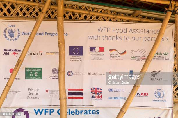 Kutupalong Ukhiya near Cox´s Bazar Bangladesh October 16 2018 A poster with the larger organizations and countries that fund the refugee camp of the...