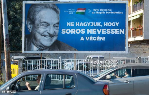 A poster with US billionaire George Soros is pictured on July 6 2017 in Szekesfehervar Hungary The head of Hungary's largest Jewish organisation says...