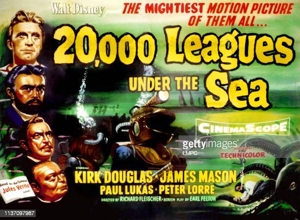 20 poster000 LEAGUES UNDER THE SEA from top Kirk Douglas James Mason Paul Lukas Peter Lorre 1955