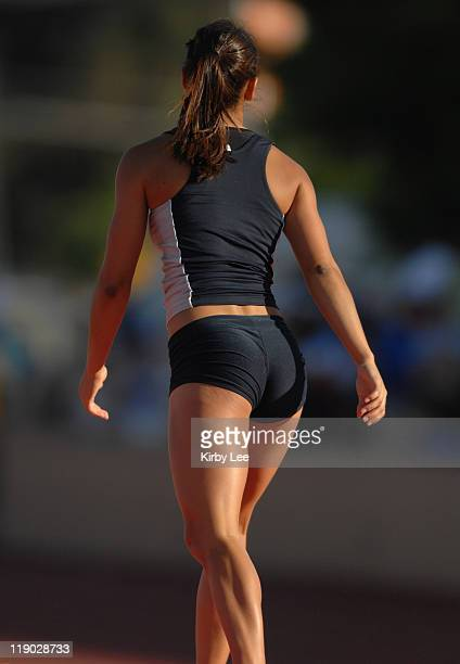 Posterior view of Allison Stokke of Newport Harbor who placed fourth in the girls' pole vault at 124 in the CIF State Track Field Championships at...