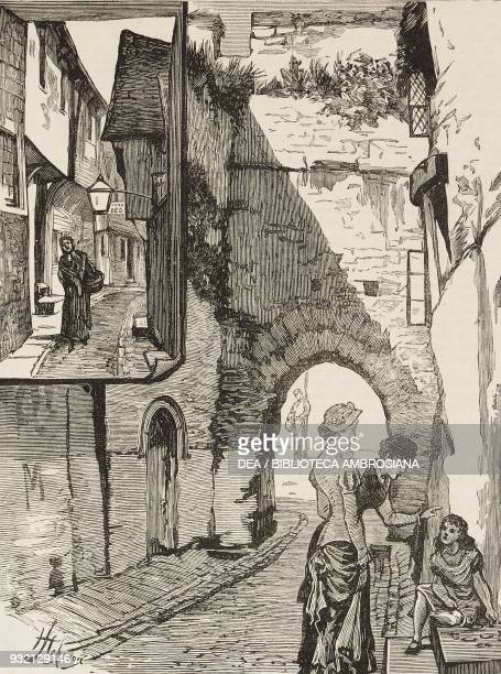 Postern Gate and Blue Anchor Lane Southampton United Kingdom illustration from The Graphic volume XXVIII no 711 July 14 1883