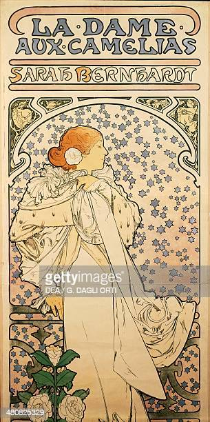 Posters 19th century Alphonse Maria Mucha poster advertising The Lady of the Camellias with Sarah Bernhardt 1896