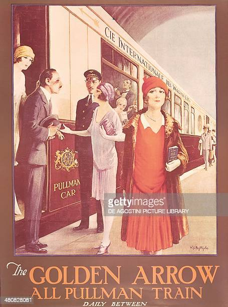 Posters 20th century The Golden Arrow all pullman train daily between LondonCalaisParis