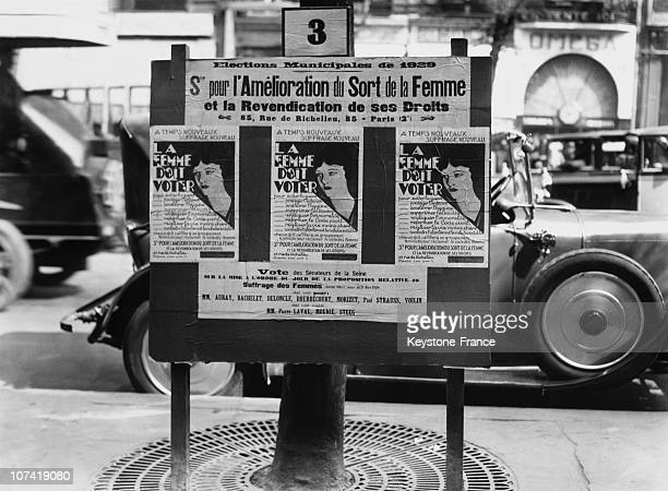 Posters About Women Suffrage In Paris On April 1949