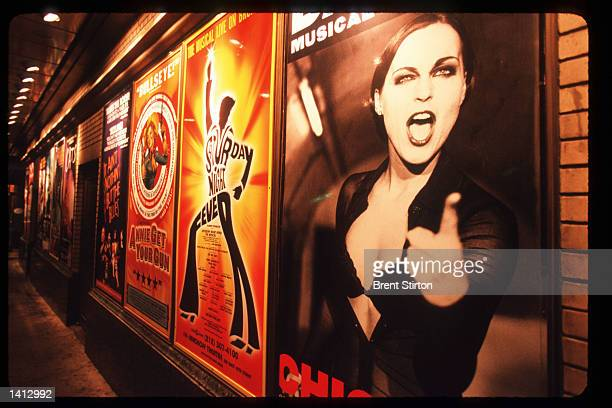 Posters advertise Broadway musicals in Times Square November 15, 1999 in New York City. The Times Square area is undergoing a thorough revitalization...