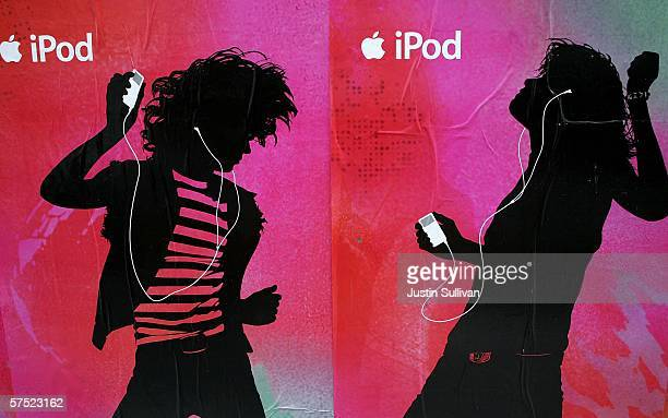 Posters advertising Apple's iPod are seen on the side of a building May 3, 2006 in San Francisco, California. Apple Computer Inc., the maker of the...