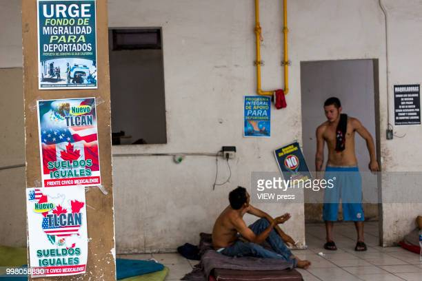 MEXICALI MEXICO July 10 NAFTA posters and fundraising for deported citizens can be seen in the common areas of Hotel del Migrante on July 10 2018 in...