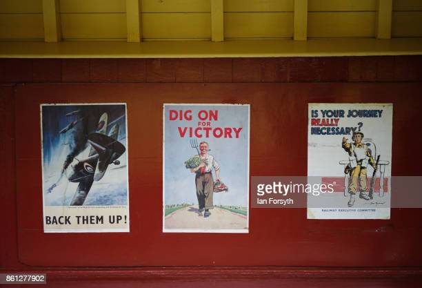 Posters are displayed at Levisham station during the North Yorkshire Moors Railway 1940's Wartime Weekend event on October 14 2017 in Pickering...