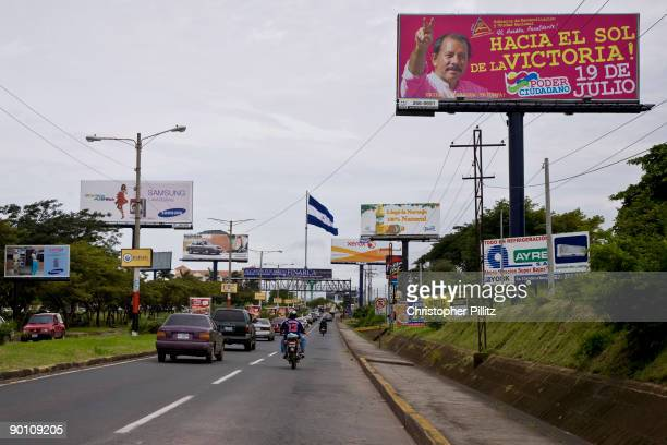 Posters extolling the words of Daniel Ortega the president of Nicaragua 'The great nation does not stop until the next of many victories'