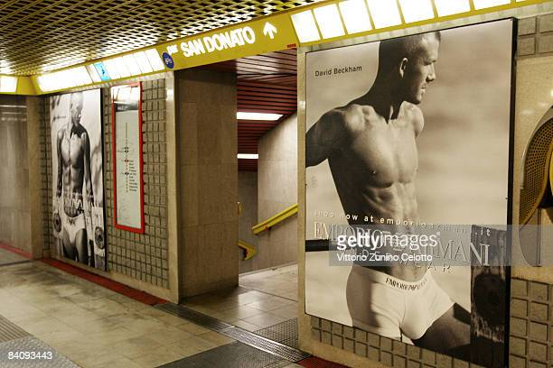 Posters featuring David Beckham modeling underwear in the latest Emporio Armani campaign adorn the walls of the underground on December 19 2008 in...