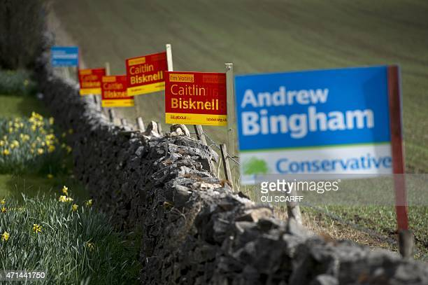Posters for Labour and Conservative Party candidates are displayed along a dry stone wall in the 'High Peak' parliamentary constituency near Buxton...
