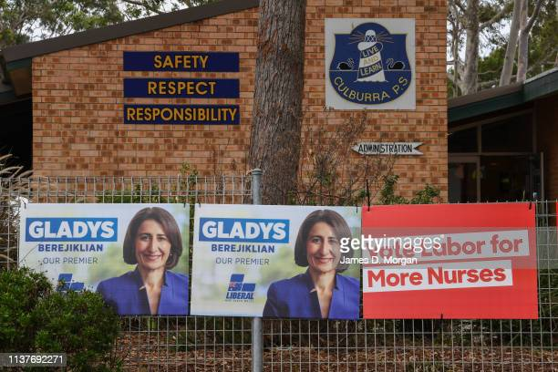 Posters for Labour and Liberals at Culburra Public School in the electoral district of South Coast on March 23 2019 in Culburra Beach Australia The...