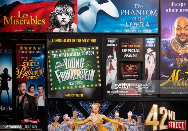 posters for london theatrical productions - west end london stock pictures, royalty-free photos & images