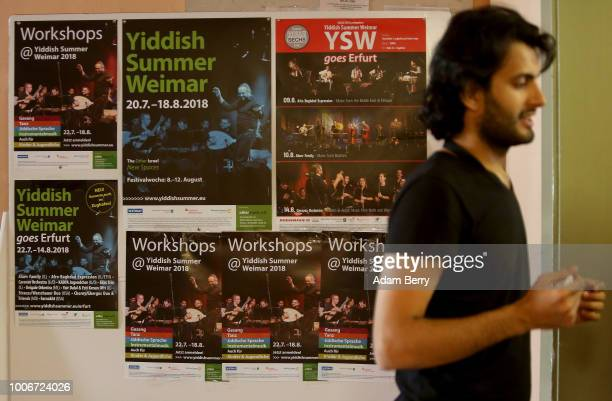 Posters for the festival hang during Yiddish Summer Weimar on July 27 2018 in Weimar Germany The annual fiveweek summer institute and festival...