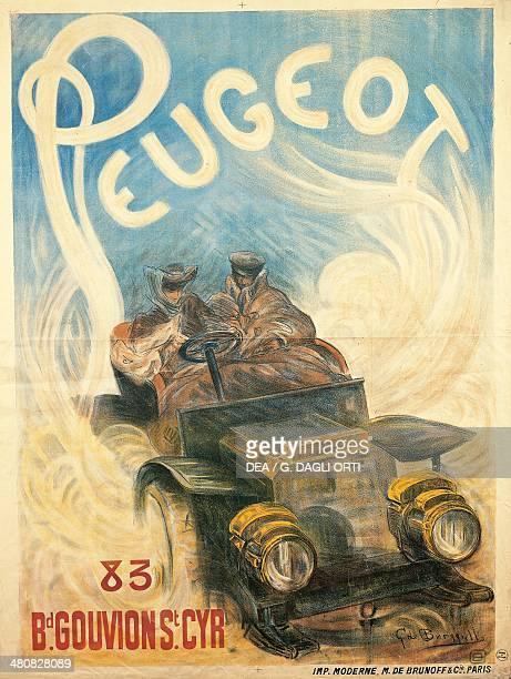 Posters France 19th century Advertisment for Peugeot cars illustration by G de Burgill 1896 Paris Musée De La Publicité