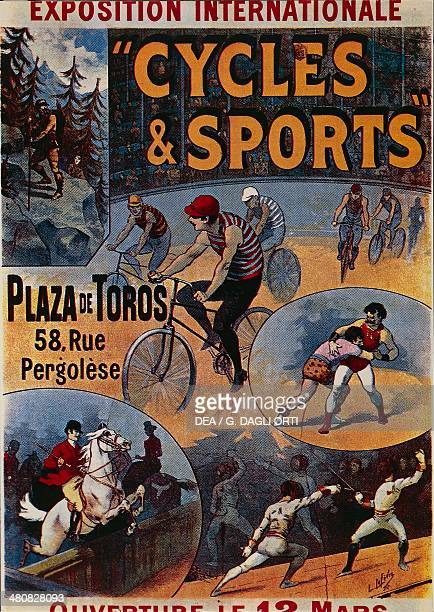 Posters France 19th century Exposition Internationale Cycles et Sports advertisment for the international exhibition dedicated to sports illustration...