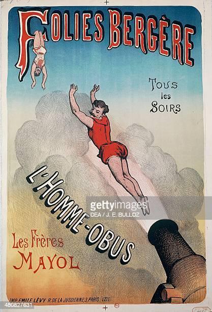 Posters France 20th century Folies Bergere l'Hommeobus Advertisment for the show of the cannon man Paris Bibliothèque Nationale De France