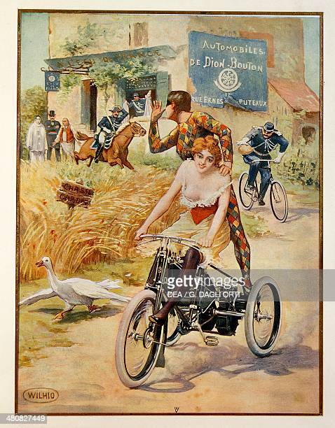 Posters France 20th century Thumbing one's nose from the motor tricycle advertisment for the Automobiles de DionBouton illustration by Wilhio Paris...